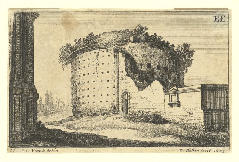 Václav Hollar - Antická kruhová ruina, podle Sebastiana Vrancxe, 1673