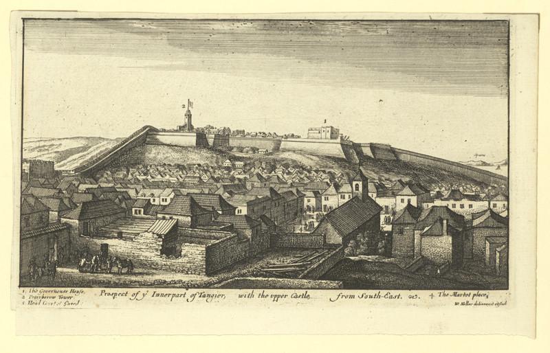 Václav Hollar - Předměstí Tangeru s tvrzí od jihozápadu – Afrika, 2. polovina 17. století