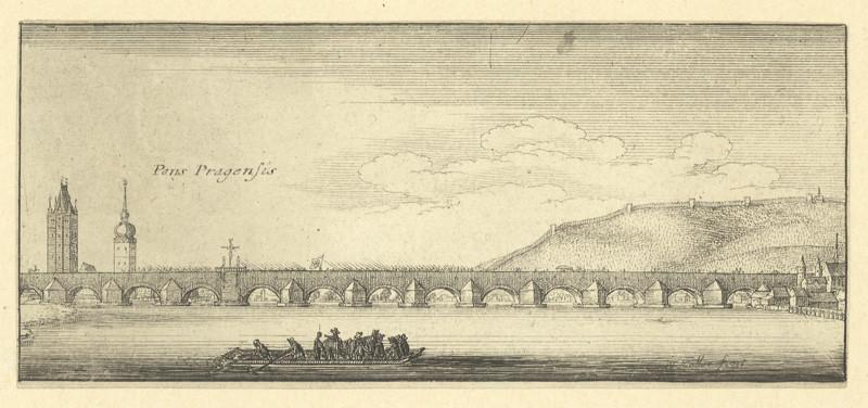 Václav Hollar - Pražský most, 1. polovina 17. století