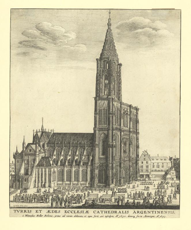 Václav Hollar - Pohled na katedrálu ve Štrasburku, 1645