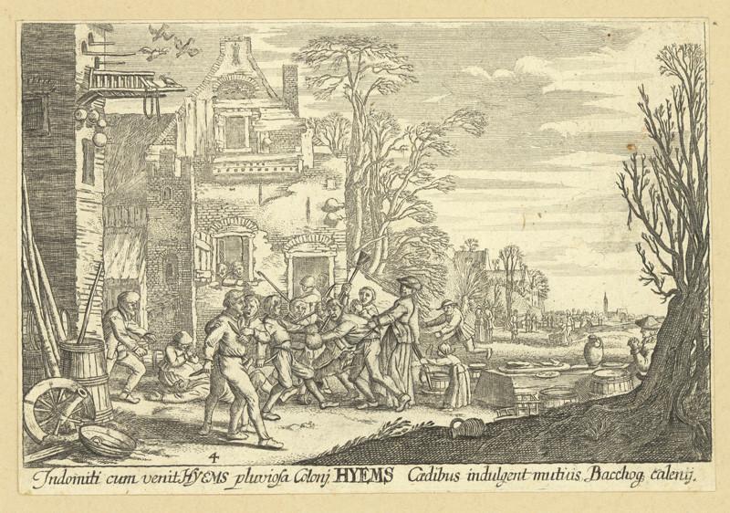 Václav Hollar - Roční doby v selském kraji – 4. zima, podle Jana van de Velde, 1. polovina 17. století